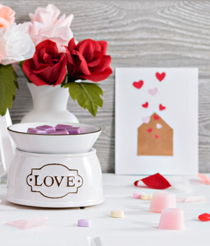 Photo of paper roses and Scentsy's Love Warmer