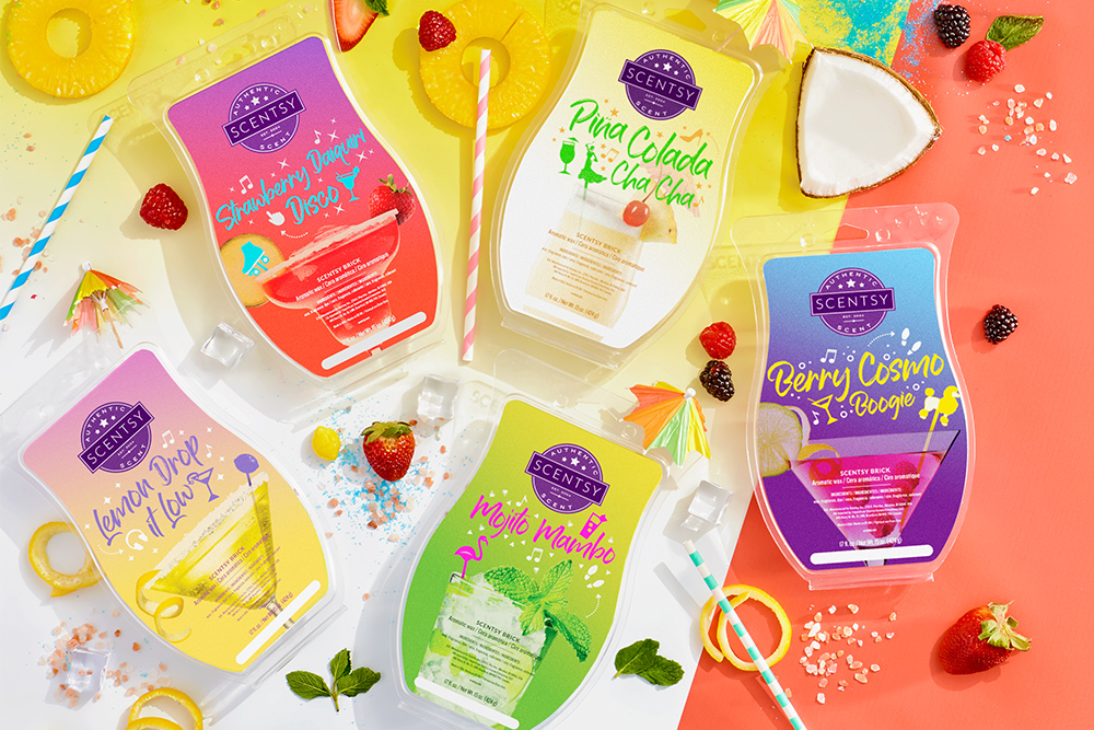 Color photo of all the Scentsy Let's Dance Brick Bar Collection