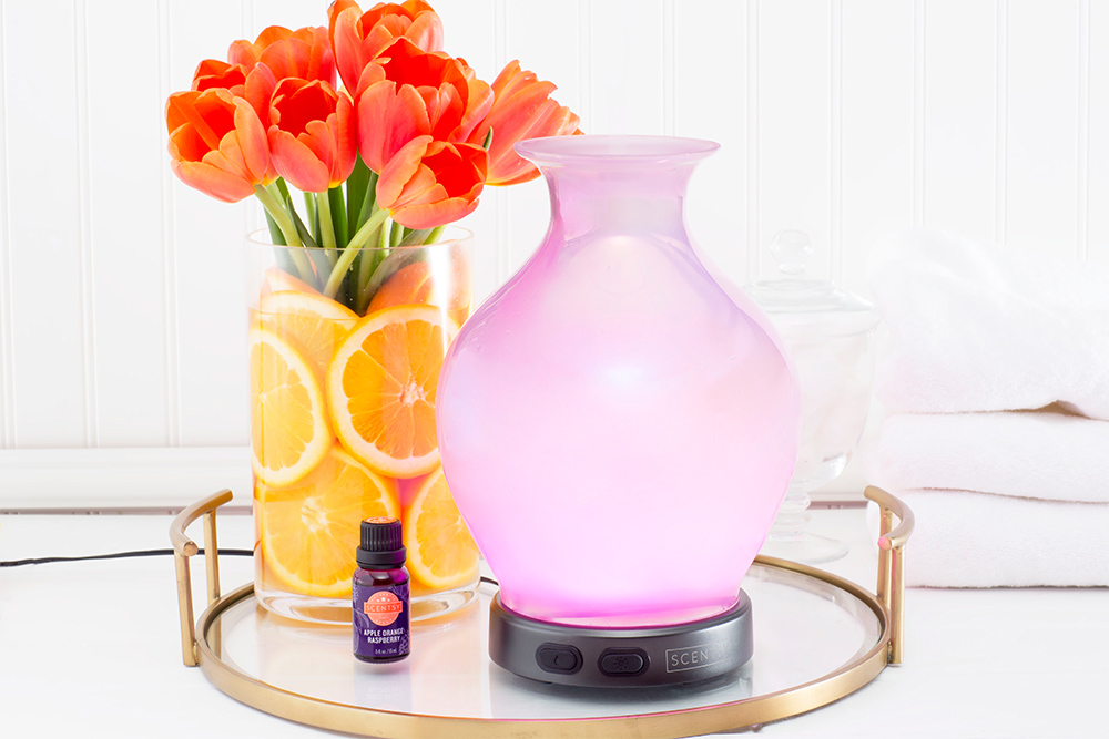 Photo of Scentsy diffuser with tulips in a or orange slices
