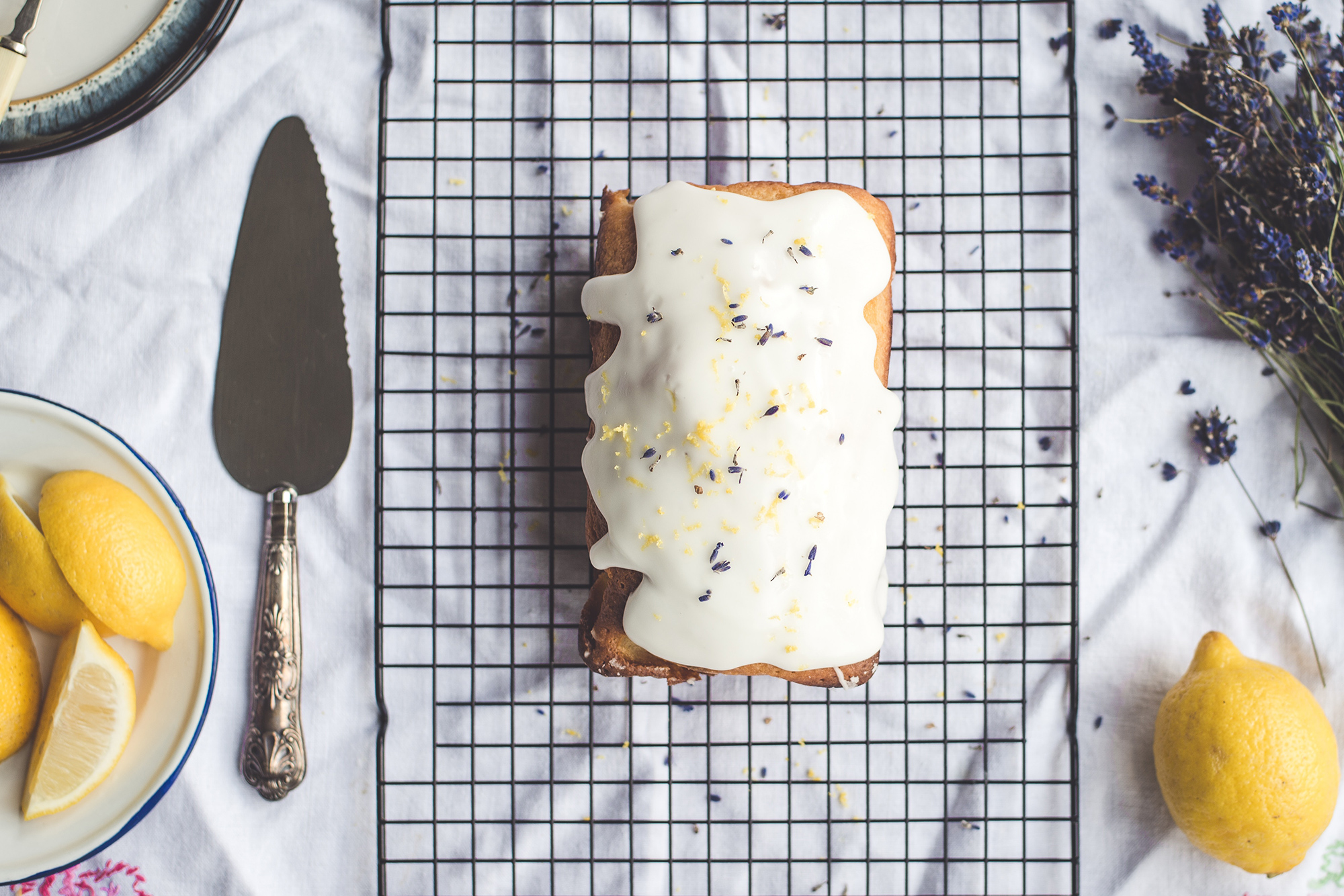 lemon cake with sprinkles and frosting
