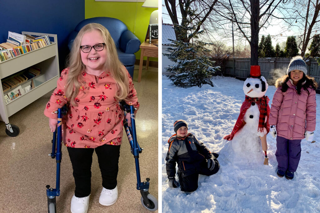 Two photos - One featuring a little girl and the other a girl and boy with a snowman