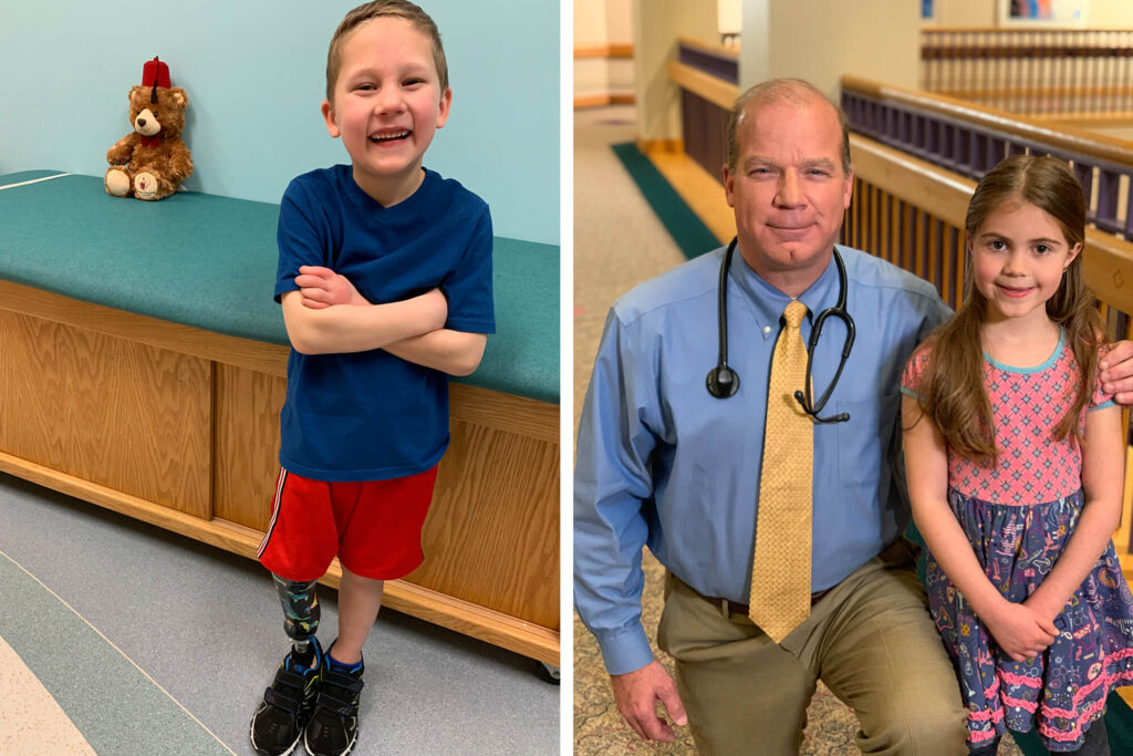 Two photos - One featuring a boy smiling and the other a doctor and little girl